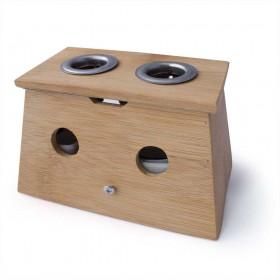 Caja de Moxa de bambú con 2 agujeros - para puro